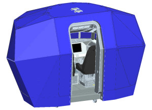 Compact cabin with panoramic visual system.
